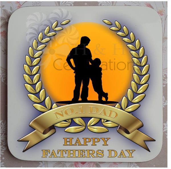 No 1 Dad And Son Laurel Silhouette Personalised Coaster